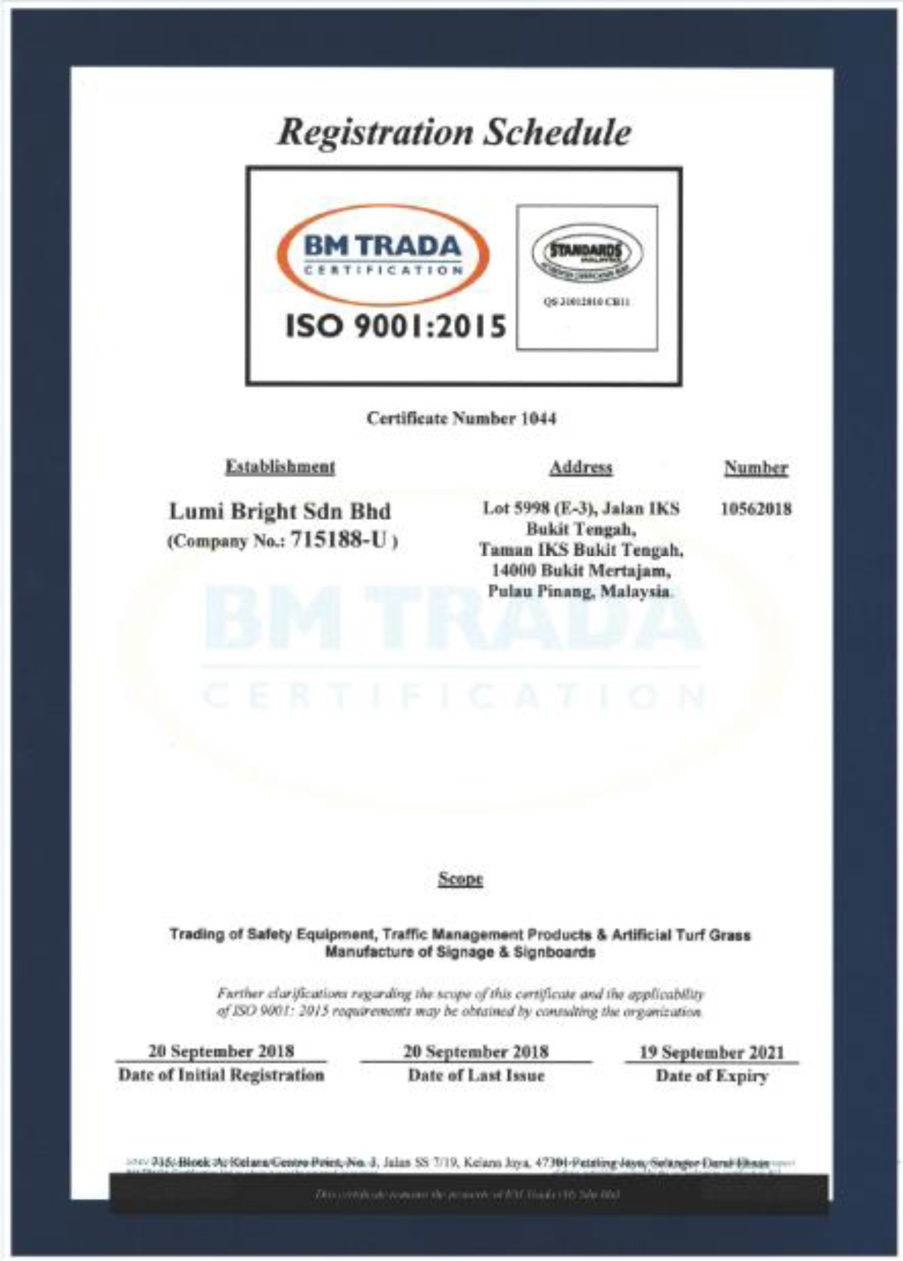 Registration Certificate of ISO 90012015_02