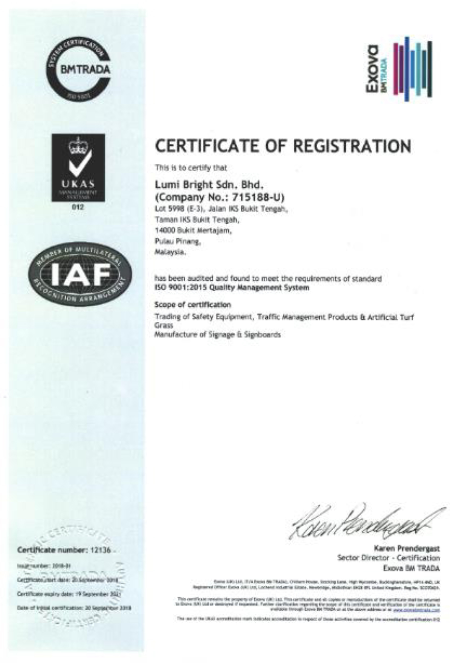 Certification of Registration for ISO 90012015 on Quality Management System
