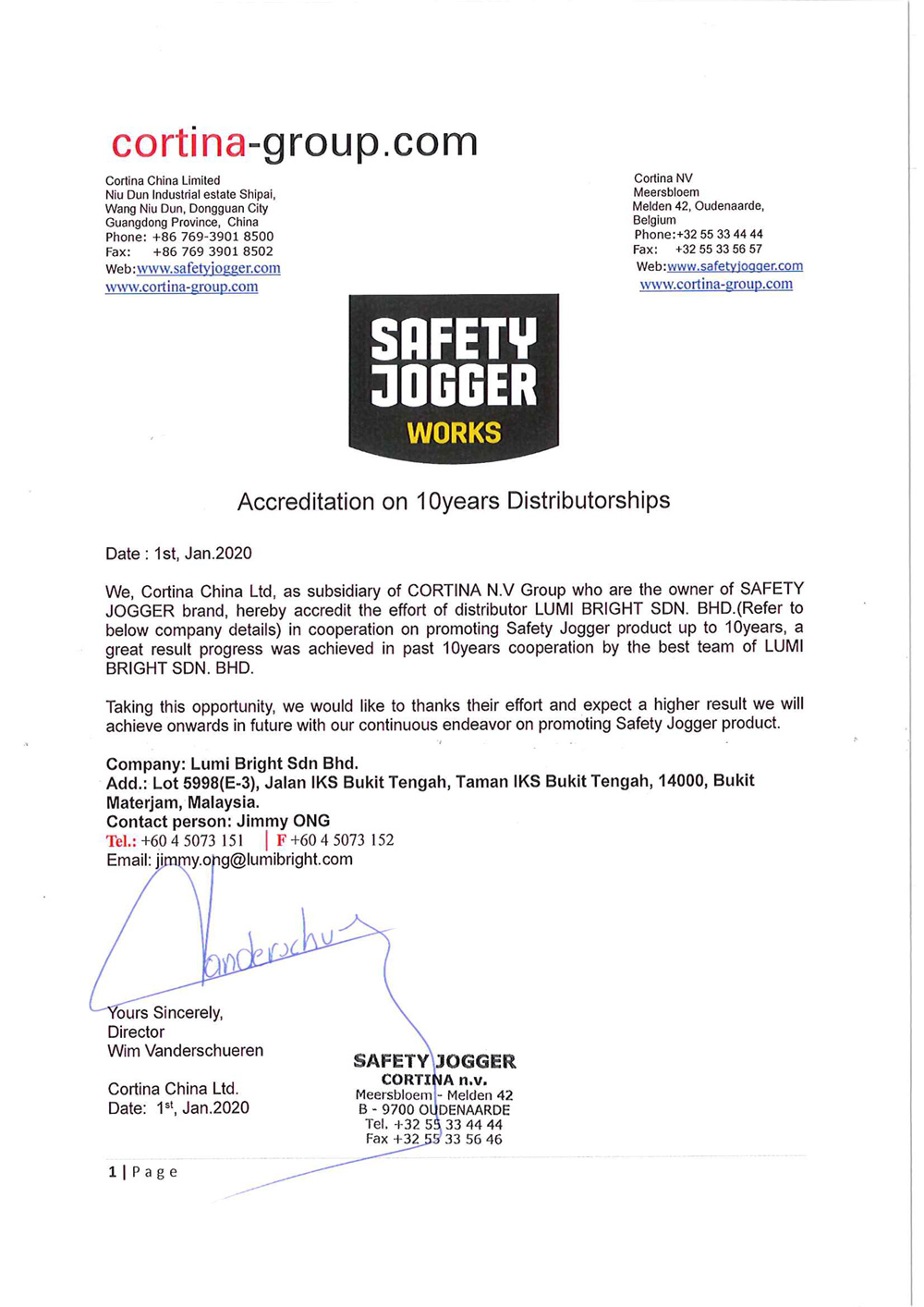 Safety Jogger Accreditation on 10 years Distributorship