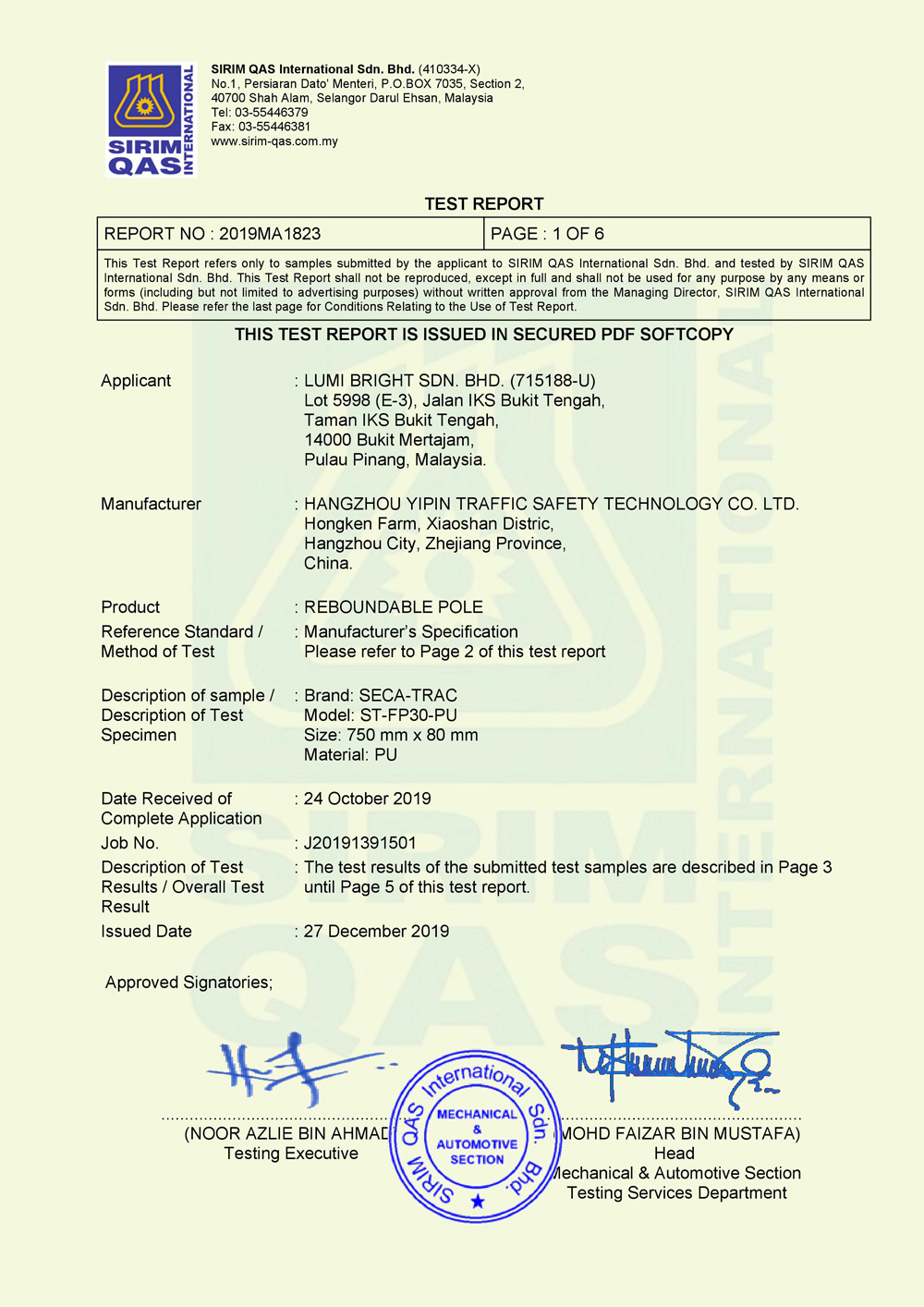 SIRIM Certification of passed the test on Reboundable Pole_Flexible Pole